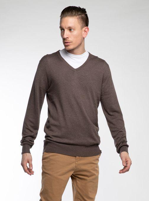 Sweater-Escote-V-Finito-Marron
