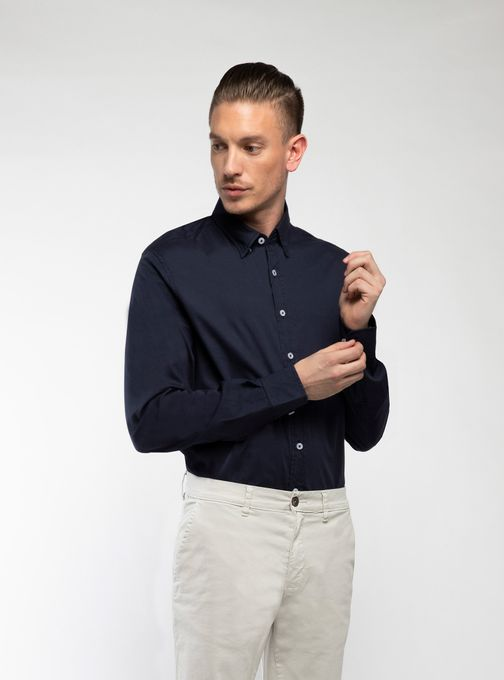 Camisa-Poplin-Lisa-Manga-Larga-Azul