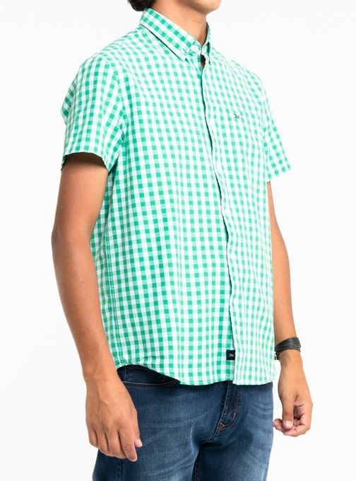 Camisa-Poplin-Cuadros-Manga-Corta-Con-Bolsillo