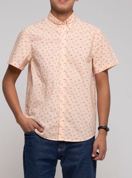 Camisa-Estampada-Manga-Corta-Naranja